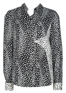 Maje Cilia Leopard Star-Embroidered Chiffon Blouse