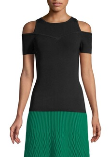 Maje Cold Shouldered Ribbed Sweater