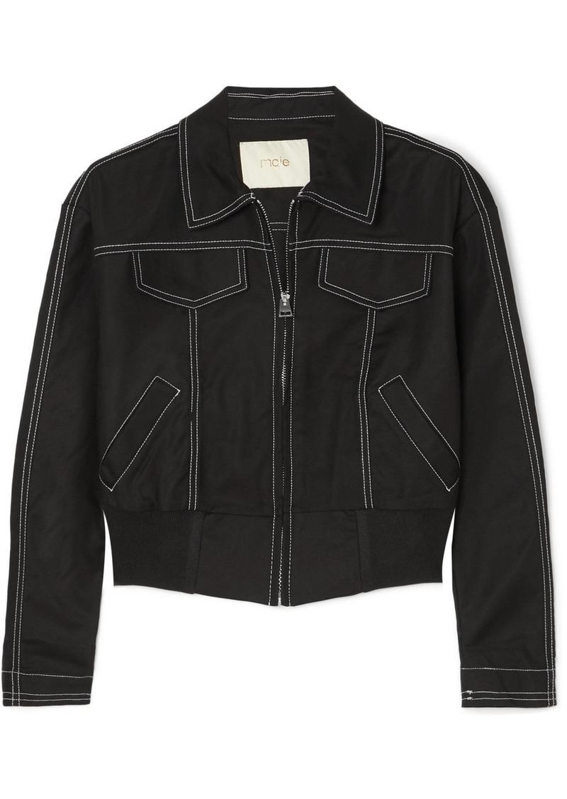 Maje Cropped Cotton-blend Bomber Jacket