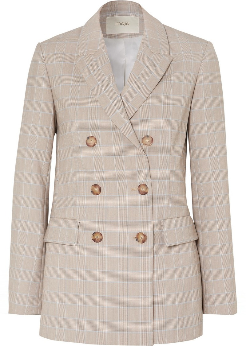 Maje Cruise Double-breasted Checked Woven Blazer
