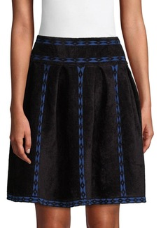 Maje Diamond Print A-Line Skirt