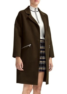 Maje Double Face Zip Pocket Wool-Blend Coat