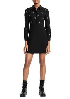 Maje Embroidered Collared A-Line Mini Dress