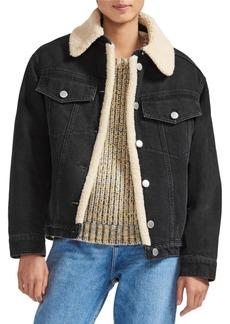 Maje Faux Shearling Collar & Lined Denim Jacket
