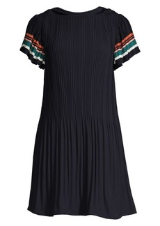 Maje Flounced Shoulder Pleated Dress