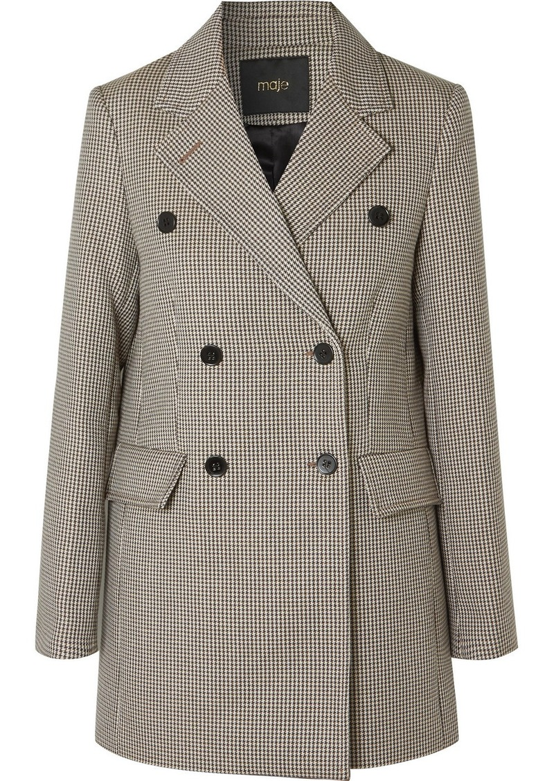 Maje Goldi Double-breasted Houndstooth Tweed Blazer