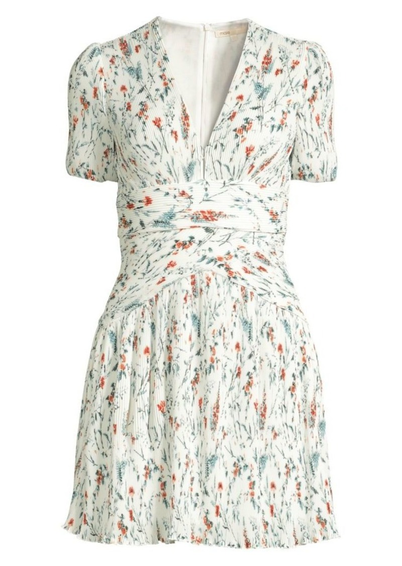 b9f30bda8cf Maje Herbier Print Pleated Crepe Dress Now $249.20