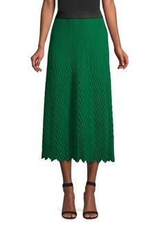 Maje Herringbone Pleated Midi Skirt