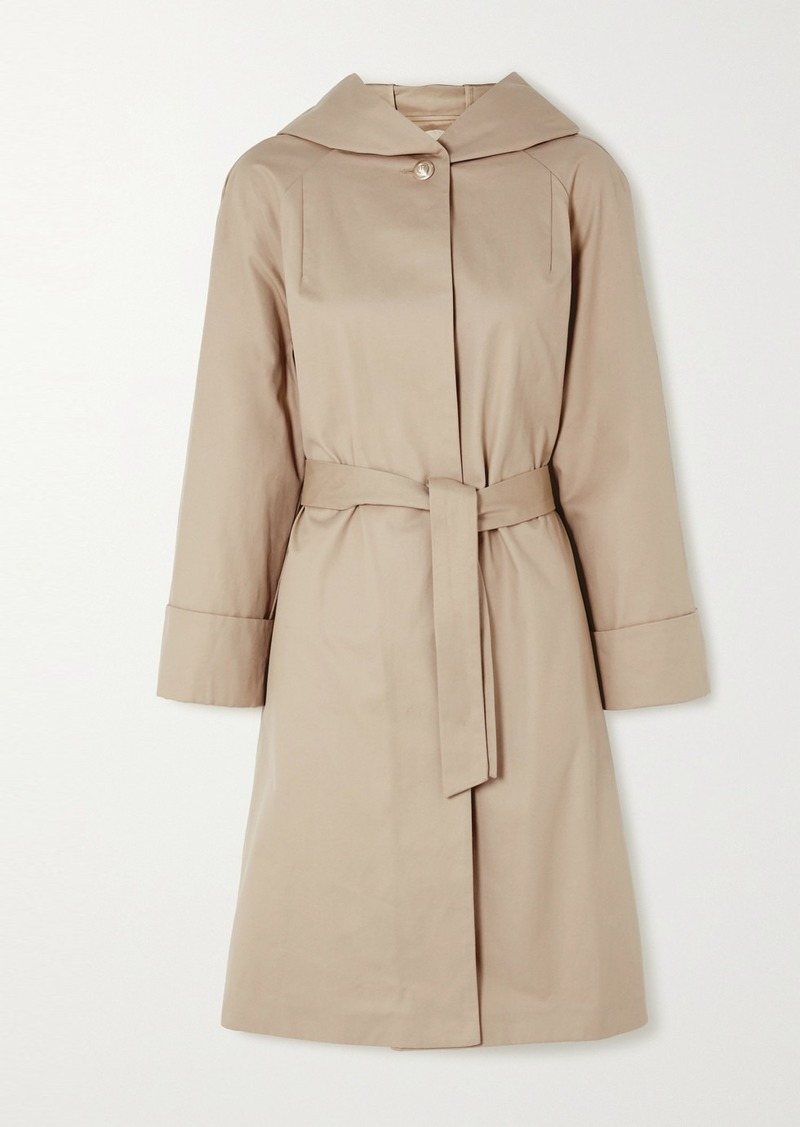 Maje Hooded Belted Cotton Coat