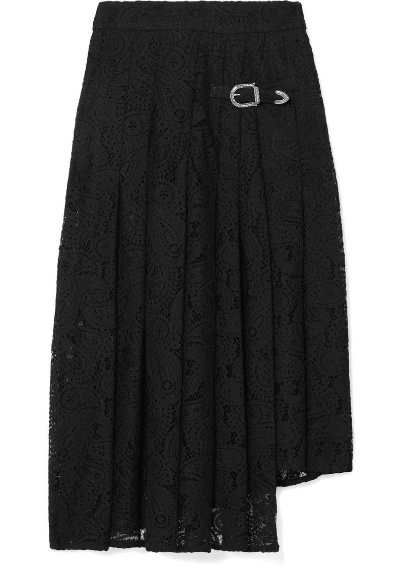 Maje Jalilo Buckled Asymmetric Pleated Guipure Lace Midi Skirt