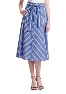 Maje Janine Stripe Belt Skirt