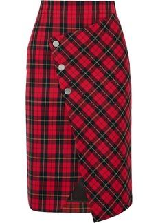 Maje Janty Asymmetric Tartan Twill Wrap Skirt