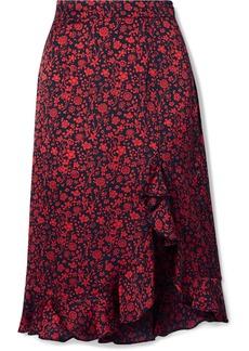 Maje Javie Ruffled Floral-print Satin Skirt