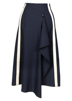 Maje Jidaia Pinstripe A-Line Midi Skirt