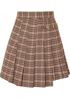Maje Jilo Buckled Pleated Checked Tweed Mini Skirt