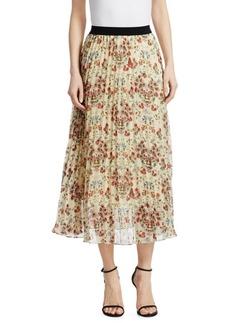 Maje Jimel Pleated Floral Skirt