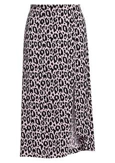 Maje Jipanta Leopard Print Midi Skirt