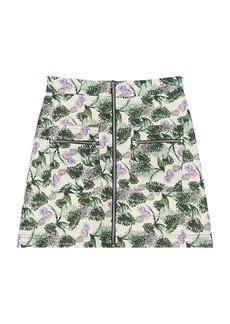 Maje Jizer Floral Printed Viscose Linen Mini Skirt