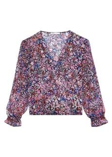 Maje Lehane Floral Silk Wrap Blouse
