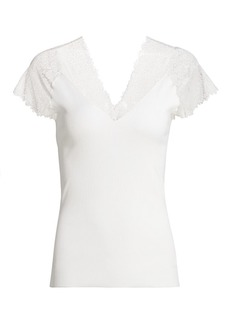 Maje Lilio Lace-Trimmed Ribbed Top