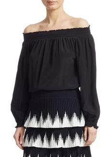 Maje Loriset Silk Off-The-Shoulder Top