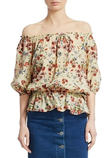 Maje Lucky Floral Silk Blouse