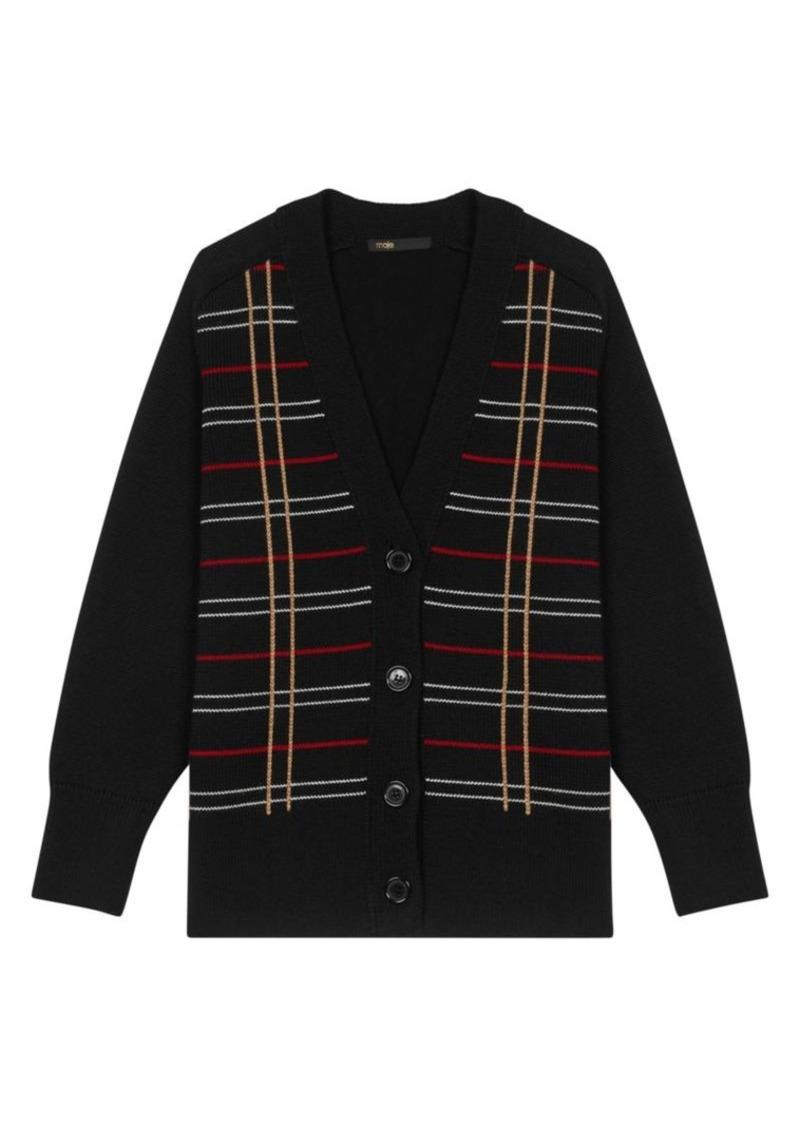Maje Mada Striped Wool-Blend Cardigan Sweater