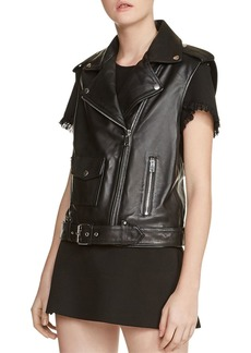 Maje Baldwin Leather Moto Vest