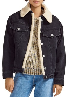 Maje Balta Sherpa-Trimmed Denim Jacket in Black