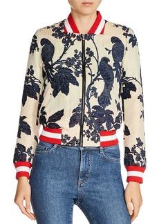 Maje Barty Bird & Floral Jacquard Pattern Bomber Jacket