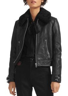 Maje Basara Real Sheep Shearling-Collar Leather Moto Jacket