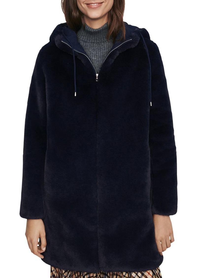 Maje Bayalou Hooded Faux-Fur Coat