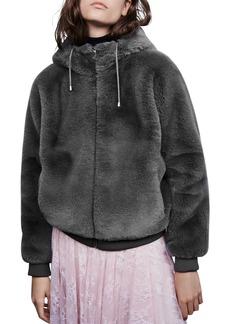 Maje Bayana Hooded Faux-Fur Jacket