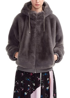 maje Bayana Hooded Faux Fur Jacket