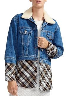 Maje Bergamo Faux-Underlay Denim Jacket