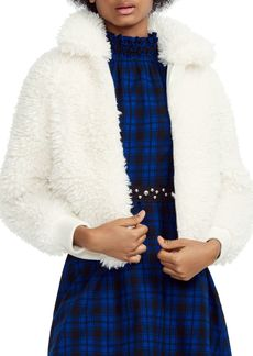 Maje Blanche Cropped Faux-Shearling Jacket