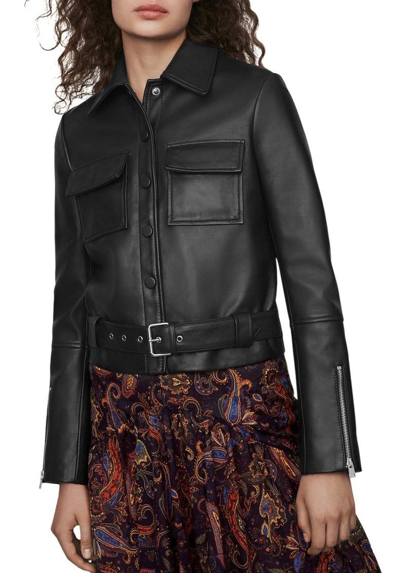 Maje Blizalia Patch-Pocket Leather Jacket
