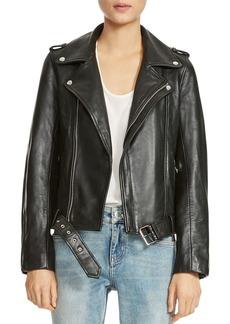 Maje Bocelix Belted Leather Motorcycle Jacket