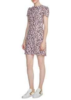 maje Bow Neck Silk Dress