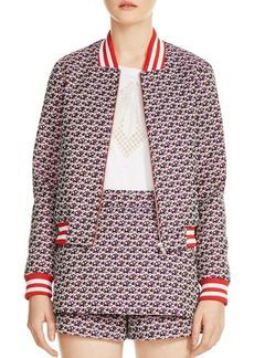 Maje Boyana Floral Print Bomber Jacket