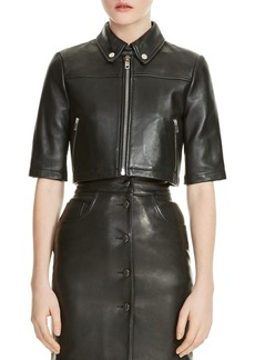 Maje Brittany Cropped Leather Shirt Jacket
