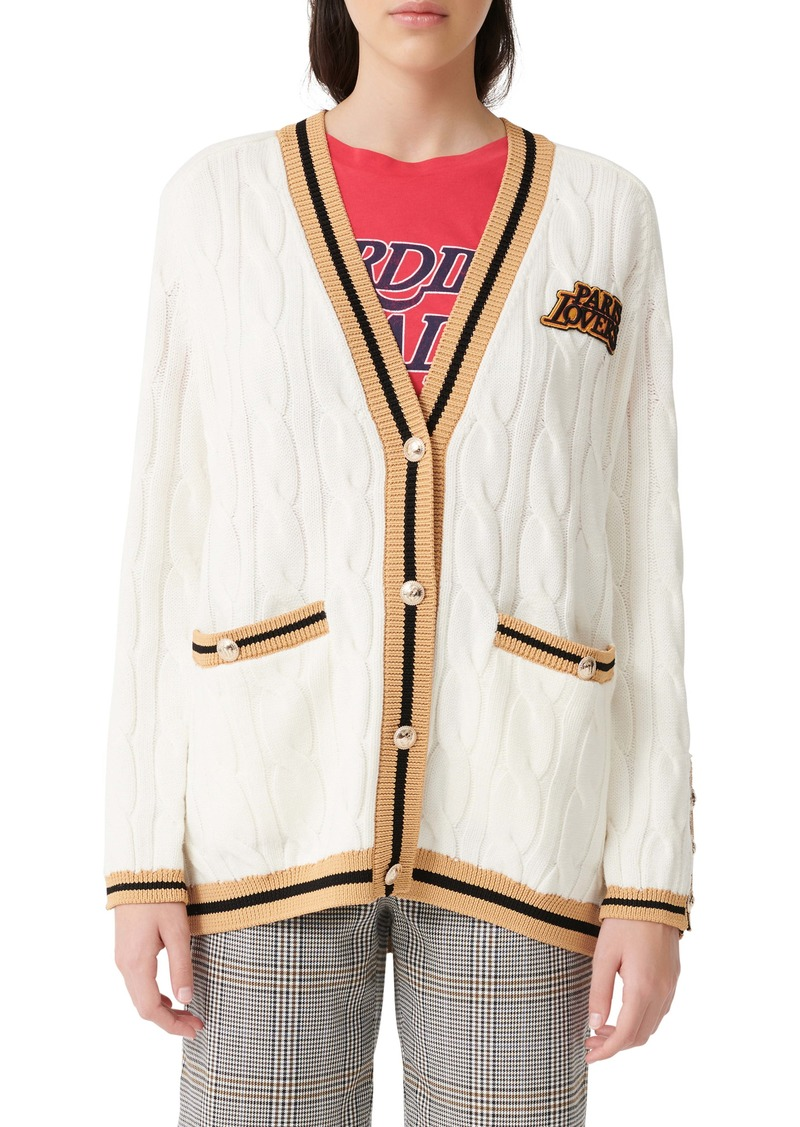 maje Cable Knit Embroidered Cardigan