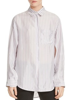 Maje Celina Striped Button-Down Shirt