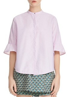 Maje Charly Flared-Cuff Poplin Shirt