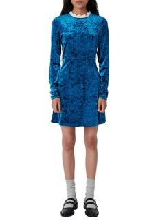 maje Contrast Collar Long Sleeve Crushed Velvet Dress