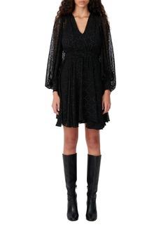 maje Dot Long Sleeve Dress
