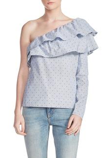 maje Elinableu One Shoulder Cotton Top