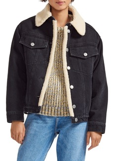 maje Faux Shearling Denim Jacket