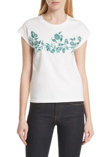 maje Floral Embroidered Tee (Nordstrom Exclusive)