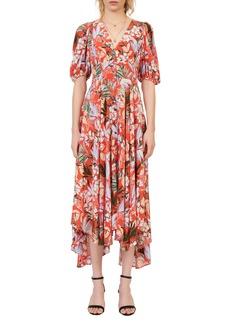 maje Floral Handkerchief Hem Dress